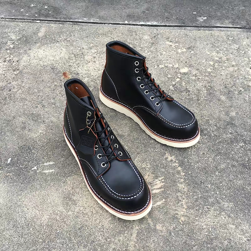 Goodyear-Welted Vintage Genuine Leather Ankle Motorcycle Boots Top Quality Wings Round Toe Men Casual Dress Work Red Boots Shoes