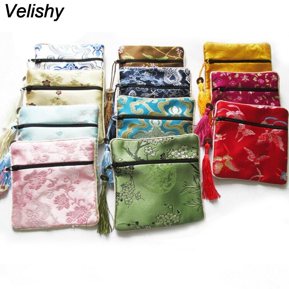 Velishy 10 Pcs Mix Colors Small Bags Chinese Zipper Coin Purse Flower Tassel Silk Square Jewelry Pouches декор atlas concorde line design silk listello flower mix 2 12 3x45
