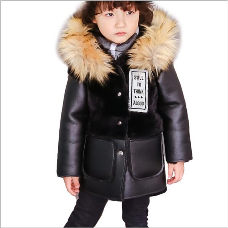 2018 Winter Boys And Girls Children Baby Faux Fur Coat Thick Artificial Leather Single-breasted Patchwork Hooded Jacket QC868