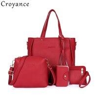 Croyance 4 шт./компл. кожаные сумки модные женские сумки с кисточкой одно плечо сумка сумки через плечо сумка держатель для карт