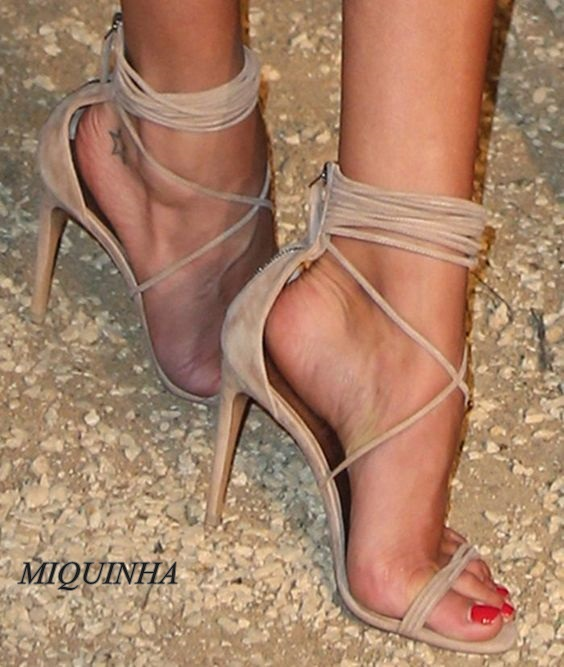ФОТО Fashionable women hot selling dress shoes cut out lace up thin high heel zipper open toe sandals sexy party pumps