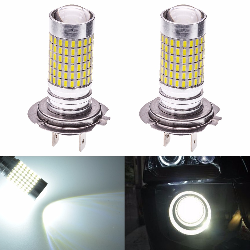 Katur 2pcs H7 Led Bulb for Cars Fog Lights Daytime Driving Lamp DRL 6000K White 144 SMD Auto Leds Running Light DC 12V 2pcs universal car daytime running light led cob 12v drl auto driving front fog lamp white bulb waterproof 6000k