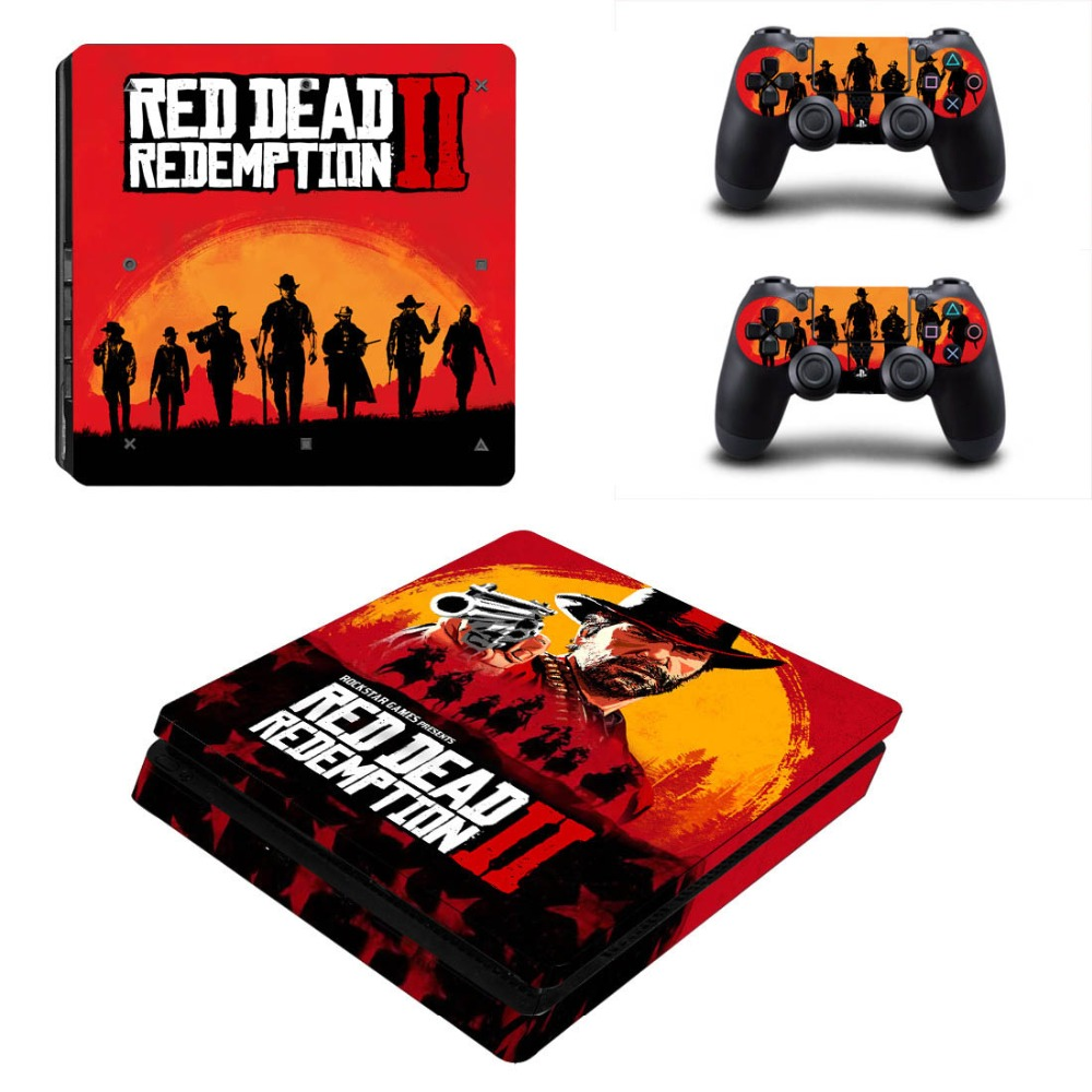 Logical Vinyl Decal Protective Skin Cover Sticker For Ps4 Slim Console & Controller - Red Dead: Redemption Ii Soft And Light