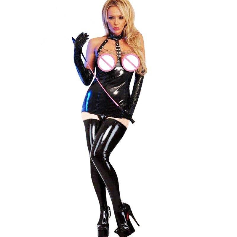 New Sexy Lady Mini Erotic Dress Wetlook XL Chains Open Bra Design Sleeveless Lingerie Leather Women Vinyl Babydoll W7831
