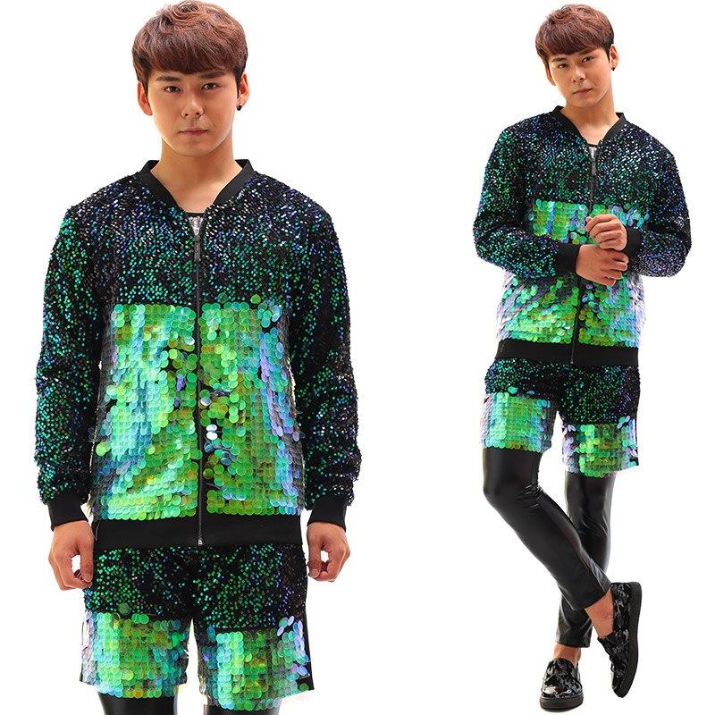 Здесь продается  Green Colorful  Sequins  Jacket And Shorts Costume  Baseball Set  Dj Ds Bar Nightclub Male Singer Individuality Slim Stage Wear  Одежда и аксессуары