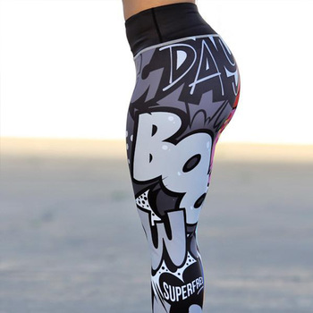 2019 New Comic Words Printing Leggings Put Hip Fold Elastic High Waist Legging Breathable Slim Pants 1