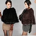 Women Poncho CDS064 2017 Wholesale Stock Rabbit Fur Kintted Ponchos Shawl women in winter