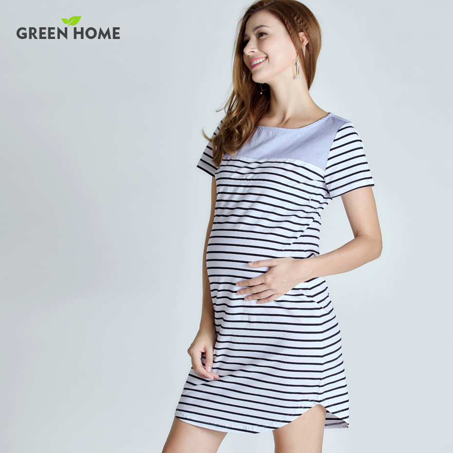 Home maternity short sleeve summer dress stripped pregnancy dress green home maternity short sleeve summer dress stripped pregnancy dress for pregnant women casual styles ombrellifo Images