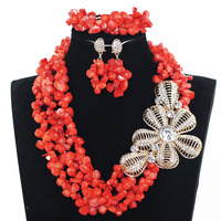 Real Coral Latest Design Nigerian Coral Beads Jewelry Set Wedding African Beads Big Gold Pendant Statement Necklace Set ABH538