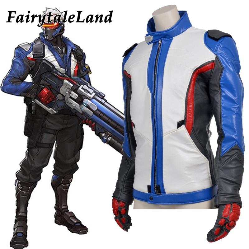 hot game OW soldier 76 jacket superhero Soldier 76 cosplay costume Halloween costume Adult soldier 76 Leather Jacket custom made