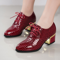 Leather with women's shoes thick with deep shoes 34 42 round head women's shoes casual shoes