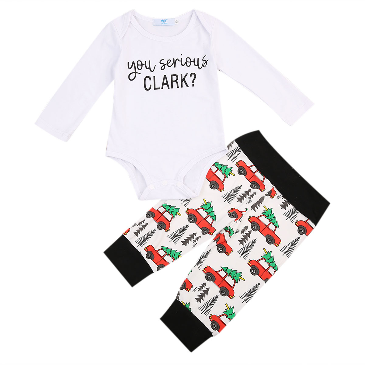Cute Newborn Infant Kids Baby Boy Girl Clothes Long Sleeve White Romper Jumpsuit+Long Pants 2pcs Outfit Cotton Casual Baby Sets