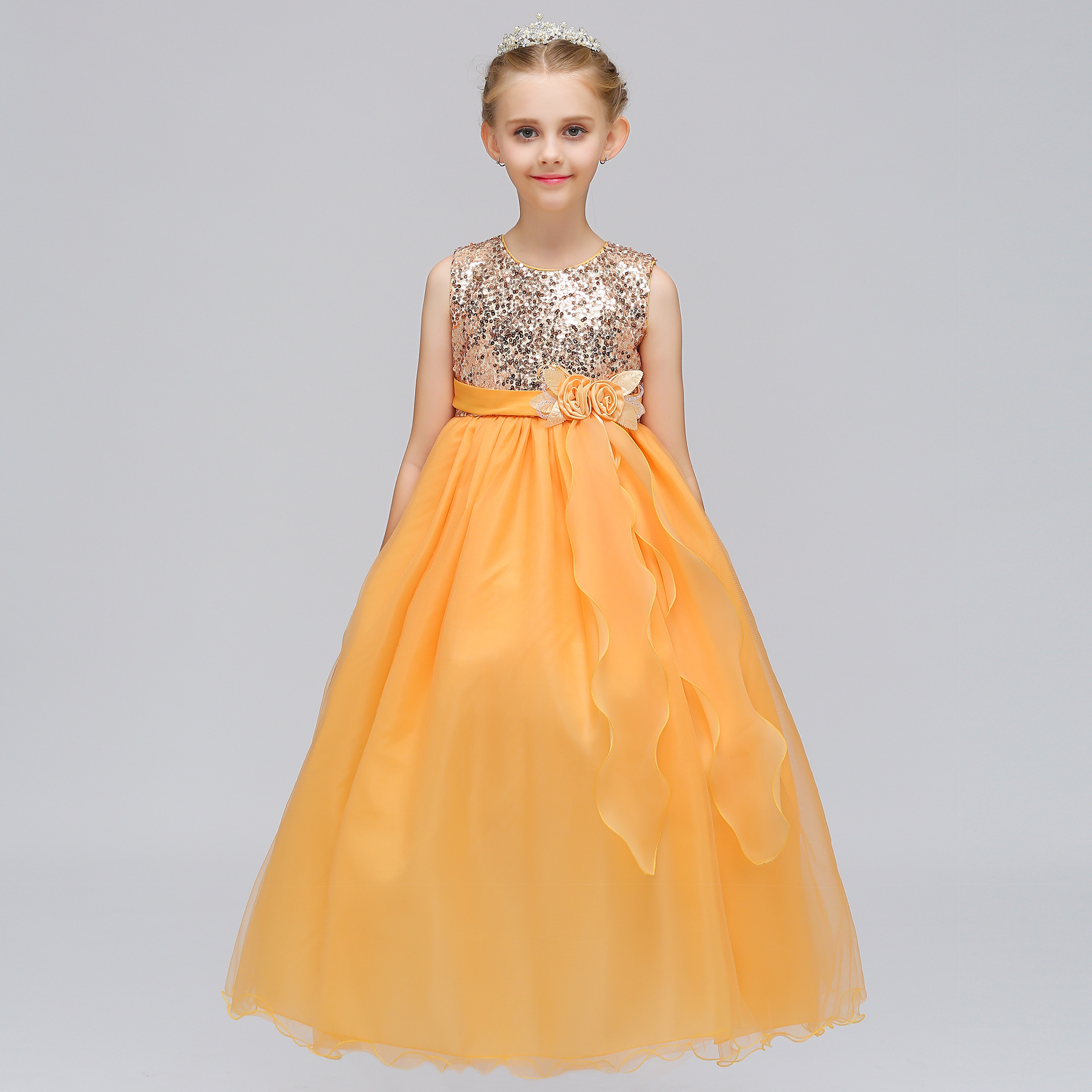 Enfant Robe Cocktail Mariage Et Evenement Yellow Dress Long Gowns Gold Sequin Prom Occasion Dresses for 5 To 15 Year Olds