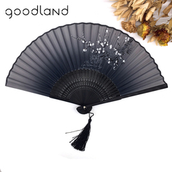 Free Shipping 1pcs Vintage Chinese Spun Silk Flower Printing Hand Fan Folding Hollow Carved Hand Fan Event & Party Supplies