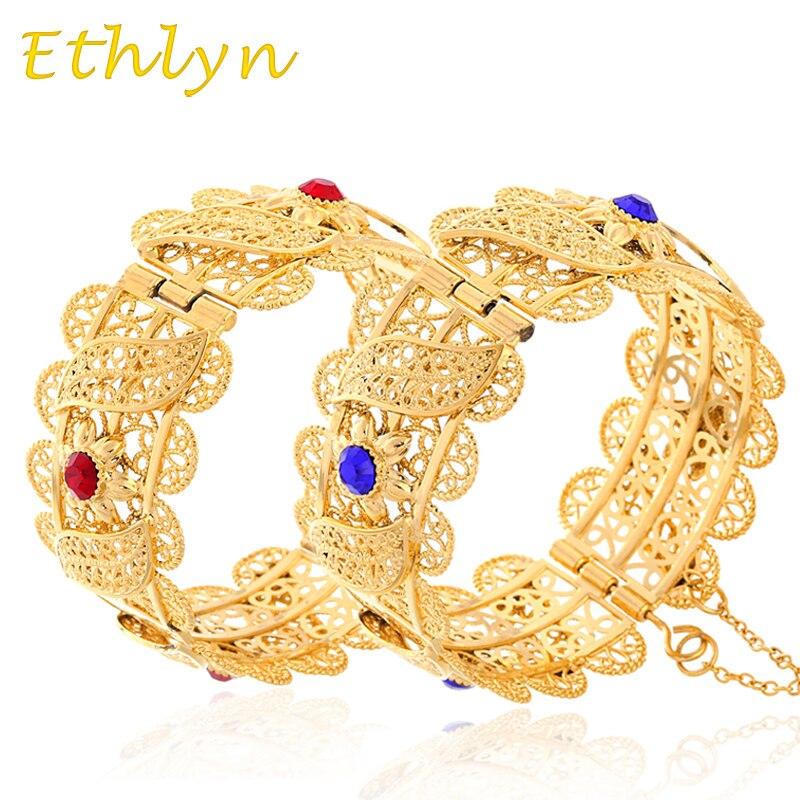 Ethlyn Ethiopian/African/arabic Style Big chunky Bangle with stone for Women Wide Bracelet Gold Color Dubai women bangles B15