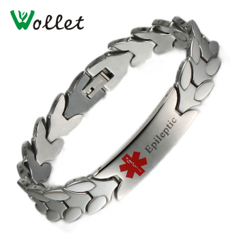 Wollet Jewelry Magnetic Epileptic Medical Logo Alert Tungsten ID Bracelet Bangle For Men Health Energy Germanium 21cm image