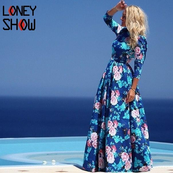 Loneyshow Women Flower Printing Dress Summer Female Prairie Chic Holiday Ball Gown Half Sleeves Empire Maxi Long Floor Dresses