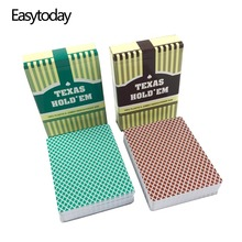 Easytoday 10Pcs/Set New Baccarat Texas Holdem PVC Playing Cards Plastic Poker Green And Brown Table Games