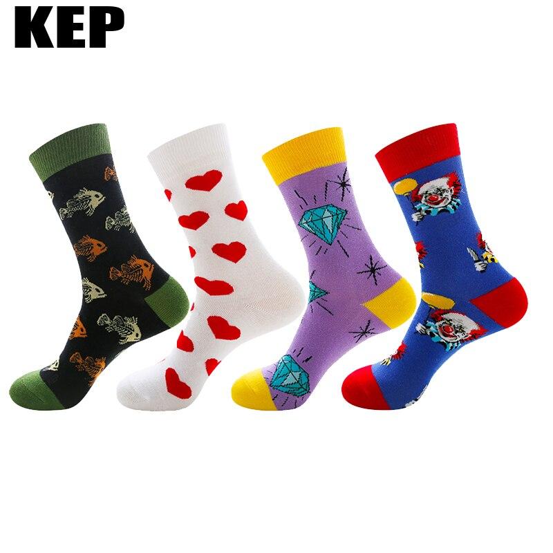 Funny Colorful Cartoon Cotton Women Socks New Brand Harajuku Trend Street Happy Socks Christmas Diamond Clown Fish Heart Pattern
