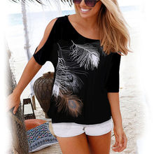 Women Shirt Casual Summer Blouse 2019 Short Batwing Sleeve Loose Tops Cold Shoulder Feather Print Shirt Plus Size Blouse 5XL(China)