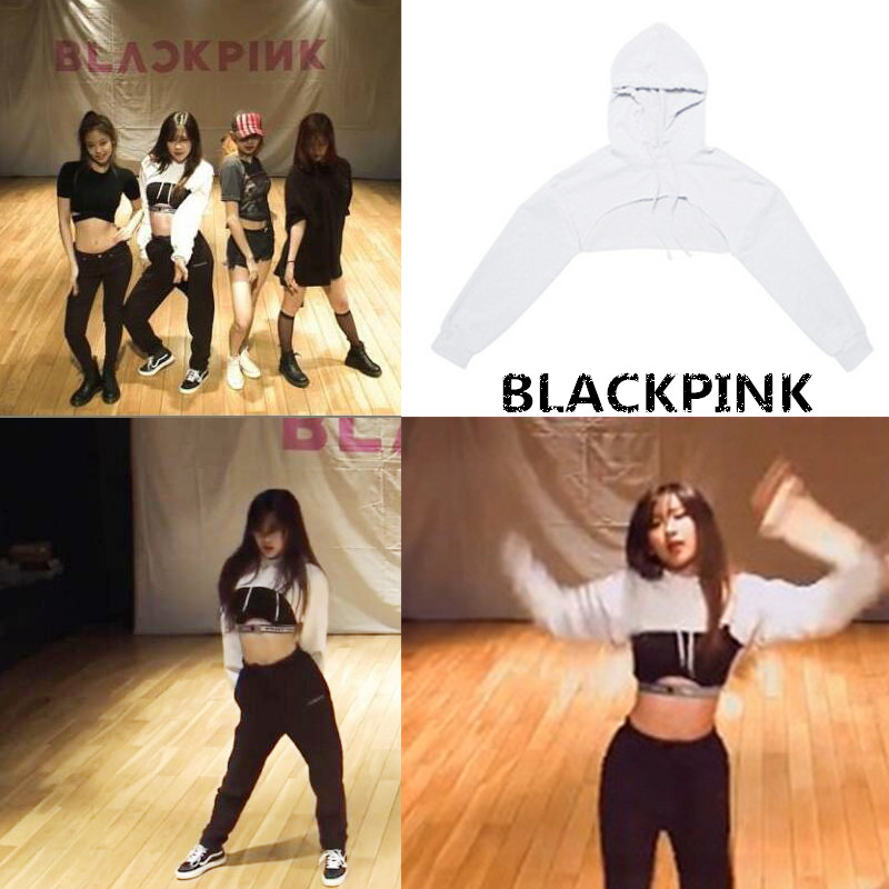 Kpop Blackpink Small Sexy Exercise Room Ultra Short Hoodies Streetwear Long Sleeve Sweatshirts Women Korean Fans Fashion Clothes