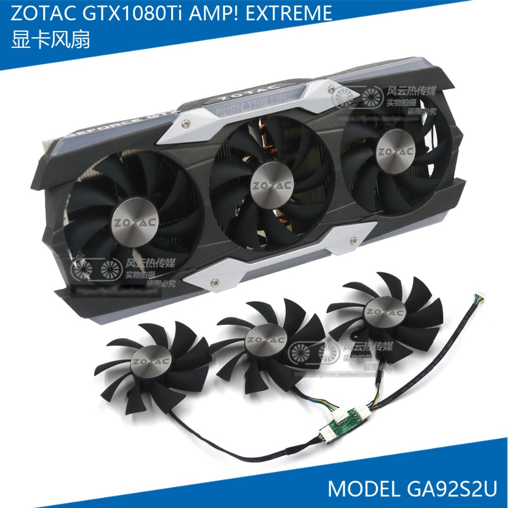 New Original for ZOTAC GTX1080Ti AMP! EXTREME 11G Graphics card cooling fan GA92S2U DC12V 0.46ANew Original for ZOTAC GTX1080Ti AMP! EXTREME 11G Graphics card cooling fan GA92S2U DC12V 0.46A