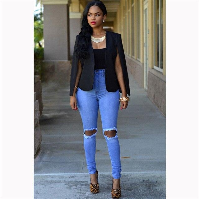a48a1a81f5 Fashion Clock Slim Cape Blazer Women Office Coat Outwear Jacket Solid White Black  Lapel Split Long Sleeve Pockets Casual Suit