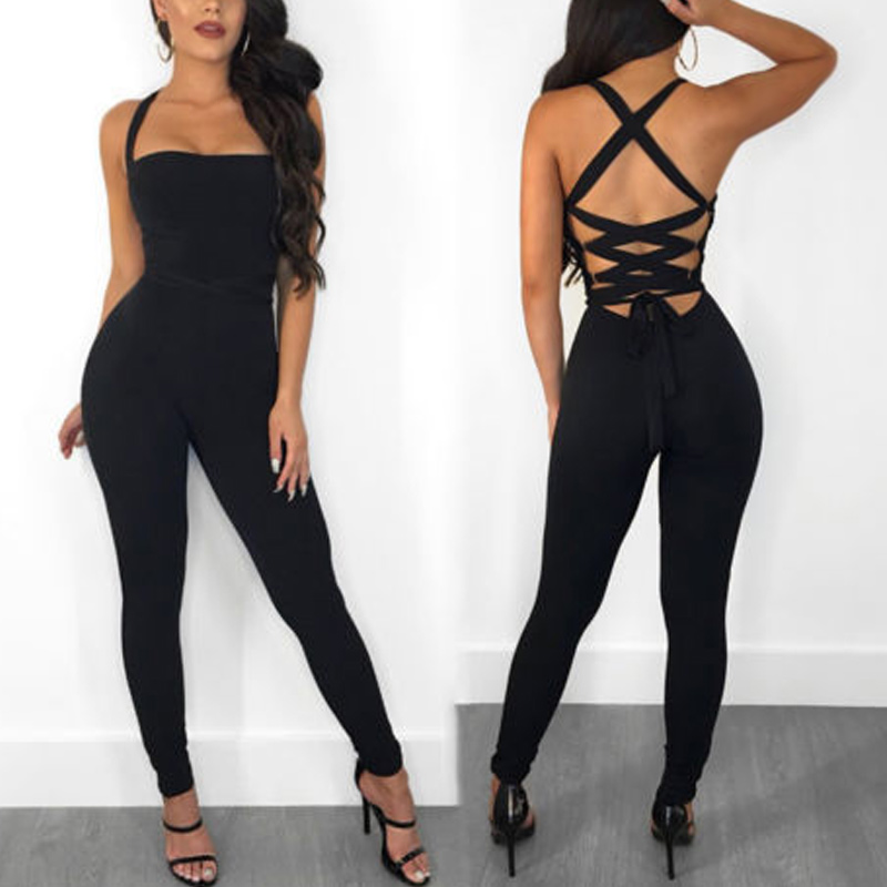 Newly Women Summer   Jumpsuit   Strappy Backless High Waist Slim Fit Female Bodysuit