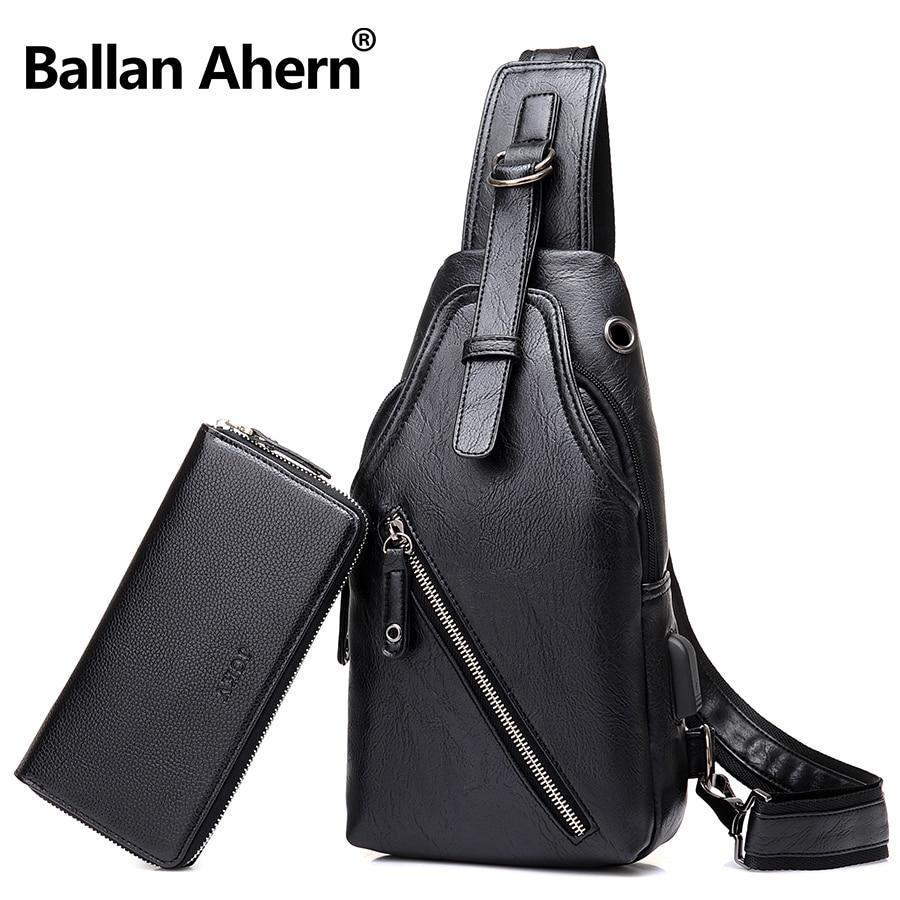 Mens PU Leather External USB Charging Black Sling Bag Waterproof Front Chest Bag Back Pack Casual Day Pack Travel Shoulder Bag