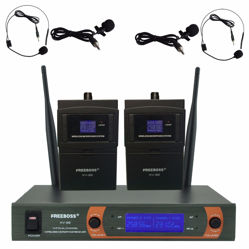 KV-22H2 VHF 2 Bodypack Wireless Microphone Family Party 2 Lapel 2 Headset microphone Wireless Karaoke Microphone System fb u09h2 dual way digital uhf wireless microphone with 2 lapel 2 headset microphone 2 bodypack transmitter for karaoke mic