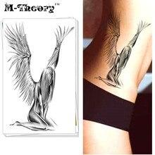 M-Theory Temporary Tattoos Body Arts Fallen Angels 3D Flash Tatoos Sticker 12x20cm Halloween Tatto Swimsuit Bikini Dress Makeup