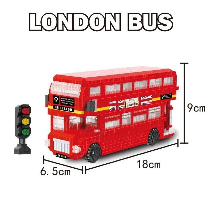 ZRK DIY Building blocks Mini London Bus Model Toy Car Educational Bricks Traffic Children Toy Kids brinquedos Gifts for Children