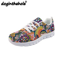 doginthehole Walking Shoes Women Breathable Vintage Floral Printing Mesh Sport Shoes for Women Lace-up Female Sneakers Outdoor