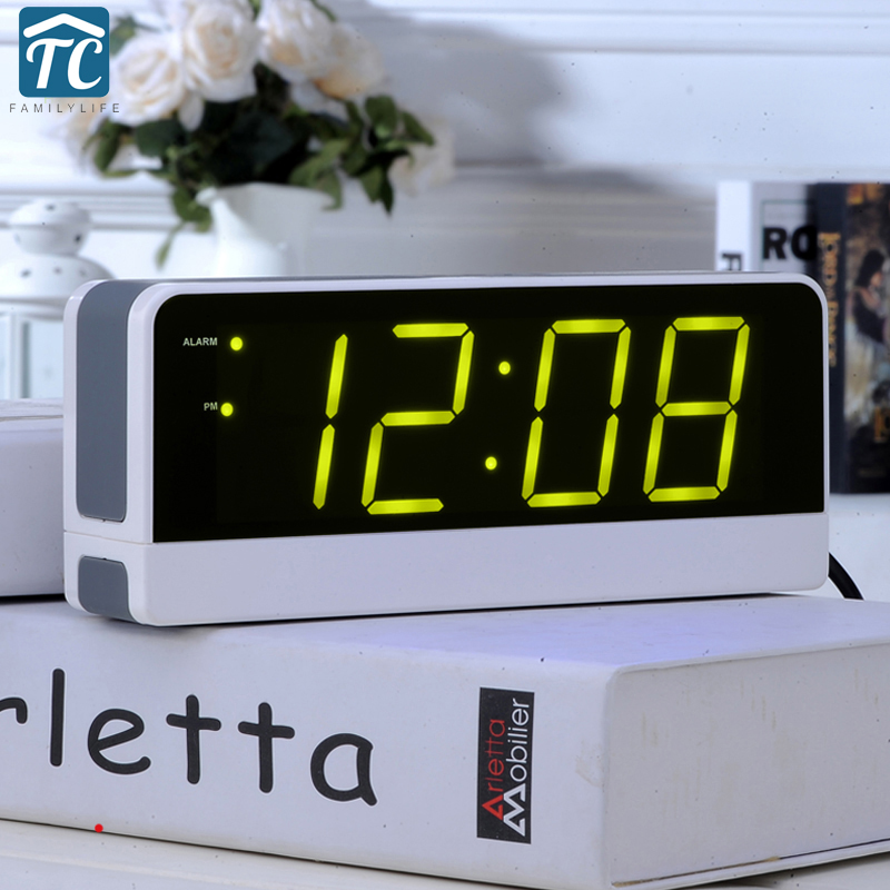 LED Big Screen Digital Electronic Alarm Clock Student Children Snooze Old Man Seat Bell Mute Luminous Bedside Clock