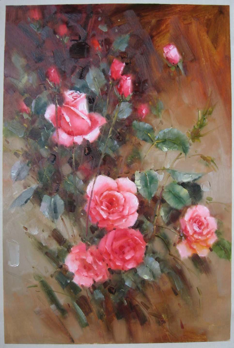 Rose Flower Hand Oil Painting Painted Decorative