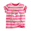 2017 children 1-2-3-4-5-6-7 years old baby girls summer cotton short sleeved striped T-shirt short sleeve shirt cartoon