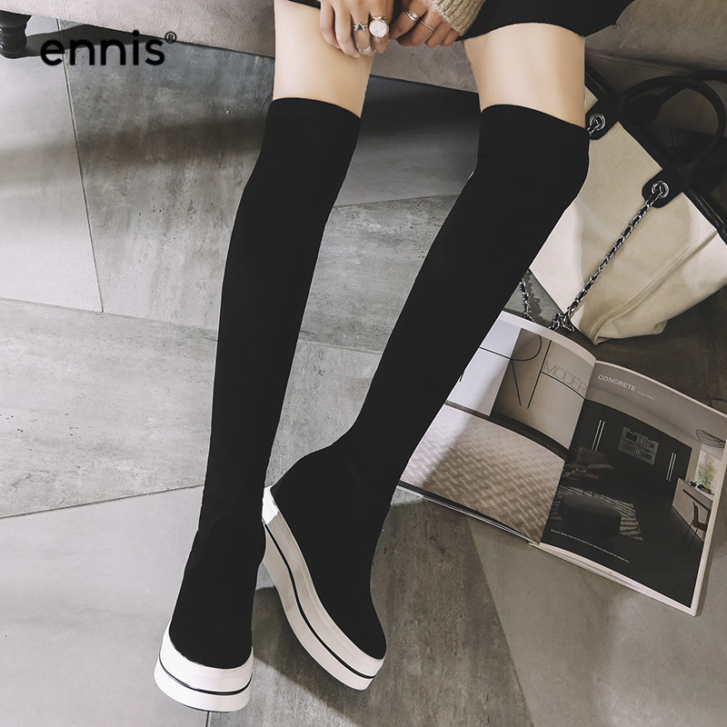 Ennis 2019 black over the knee boots 플랫폼 여성용 스트레치 부츠 무릎 높이 스웨이드 가죽 부츠 높이 증가 신발 slim l782-에서무릎위 부츠부터 신발 의  그룹 3