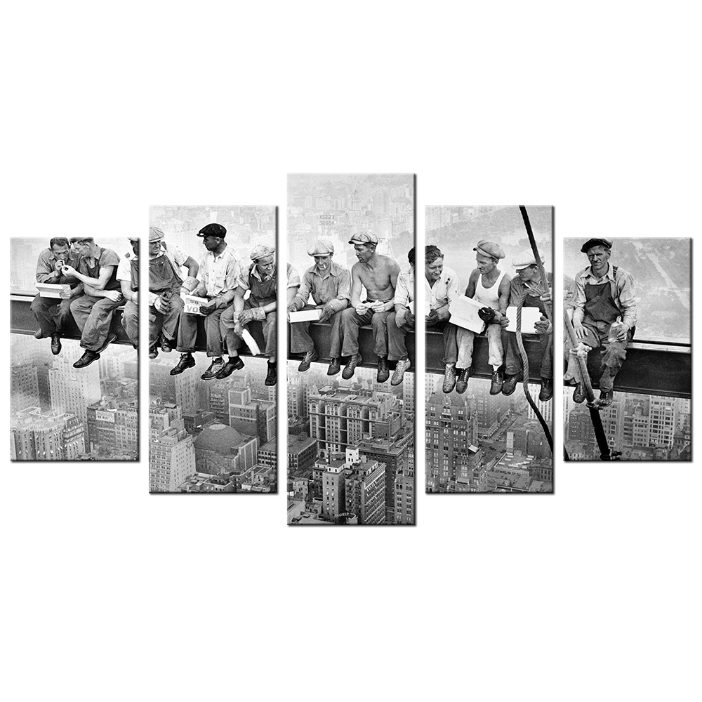 Giclee Landscape Canvas Prints Black And White Vintage Style New York Skyscraper Lunch Workers HD Printed Scenery Paintings 5pcs