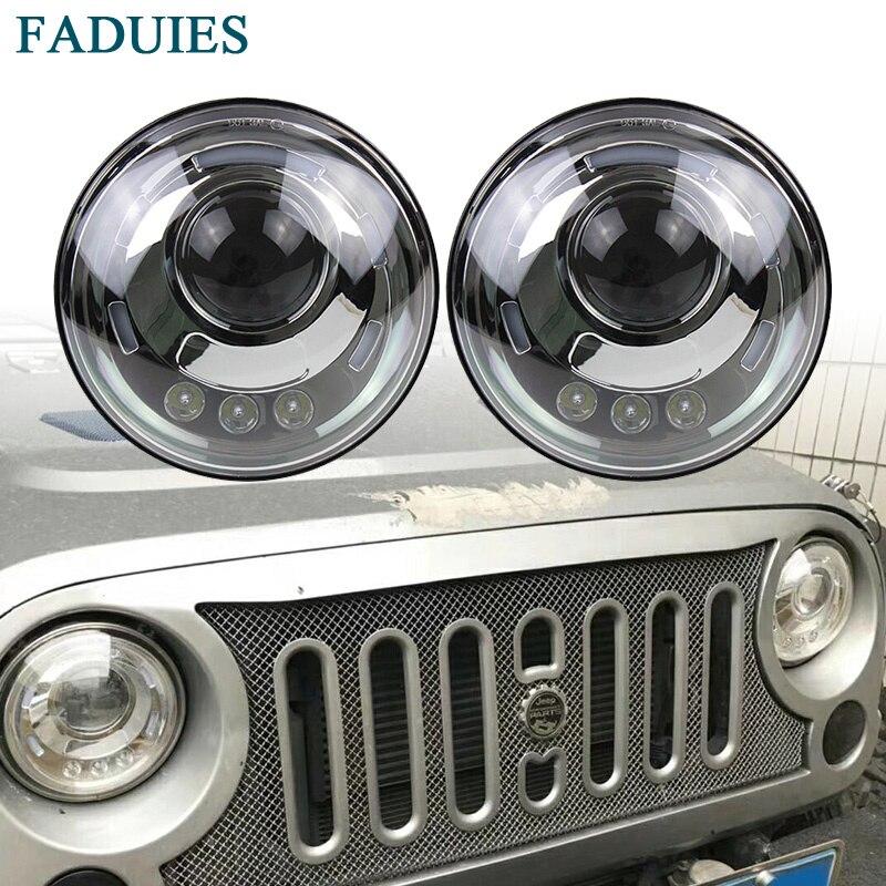 FADUIES 7 Inch Round H/Low Beam LED Headlight For Lada 4x4 urban Niva For Jeep Wngler Hummer Land rover defender faduies 7 inch round high low beam with