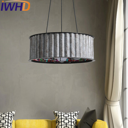 IWHD Iron Hanglampen Circular Vintage Pendant Lights LED Style Loft Industrial Retro Hanging Lamp Bedroom Kitchen Iluminacion iwhd rust retro vintage pendant lights led edison style loft industrial lamp metal iron rustic hanging light lampara colgante