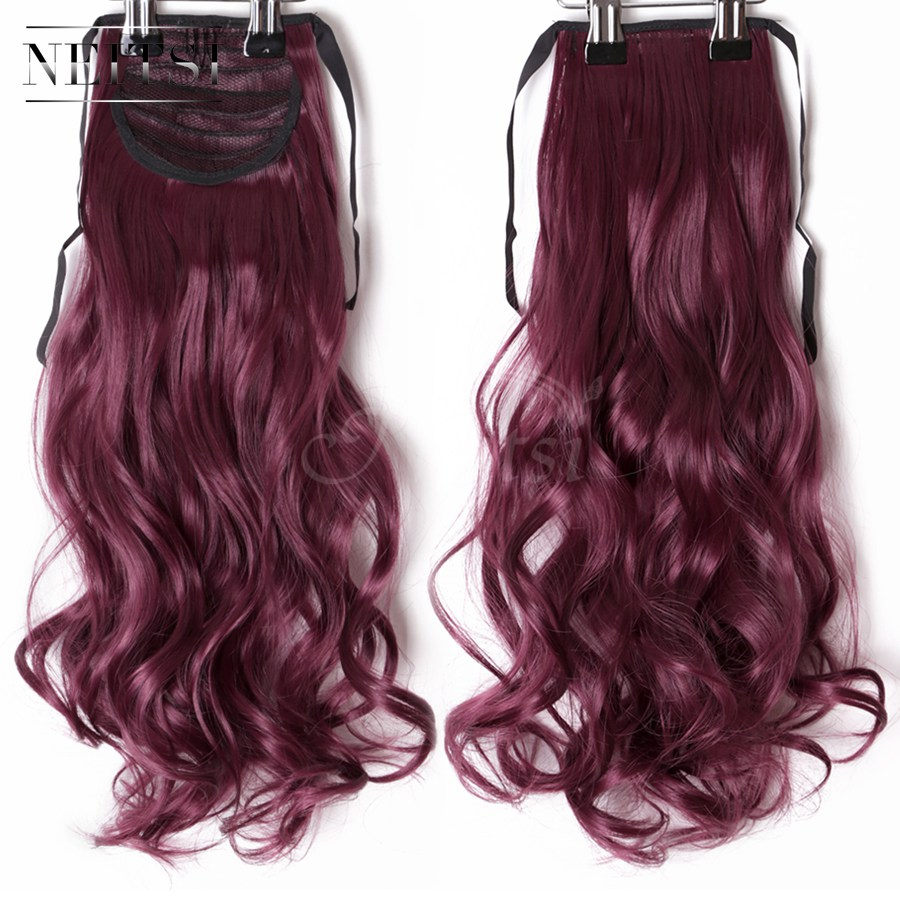 Neitsi Curly Long Clip In Hair Tail False Hair Ponytail Hairpiece With Hairpins Synthetic Hair  99J#