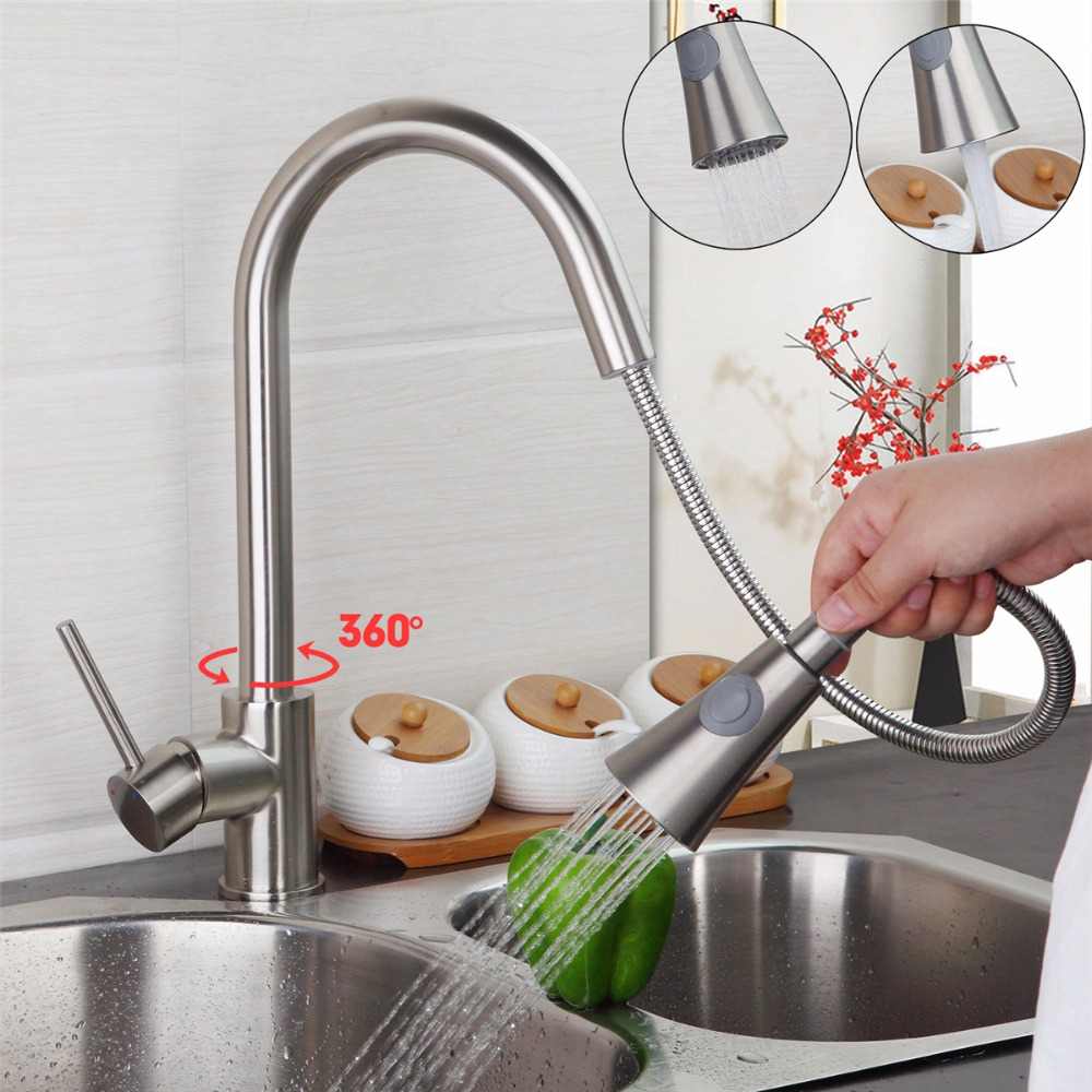 Brushed Nickel Kitchen Sink Faucet Swivel Pull Out Dual Spray Single Handle Hole Deck Mounted Kitchen