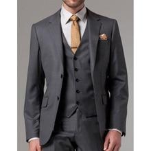 Dark Grey Business Formal Men Suits Notched Lapel 3 Piece Jacket Pants Vest Groom Tuxedos for Wedding