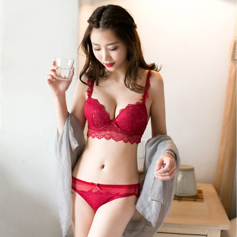 031faf17185 Sexy Women Sexy Bra Set Red Black Lace Bras Underwear Plus size Push up Bra  and