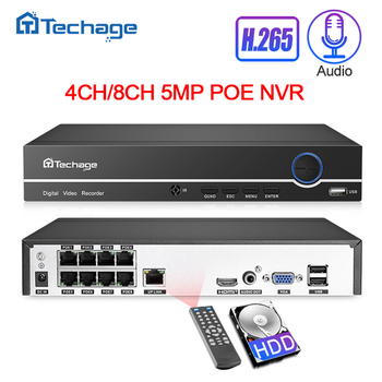 Techage H.265 4CH 8CH 4MP 5MP 1080P POE NVR Audio Out Security Surveillance Network Video Recorder Up to 16CH For POE IP Camera