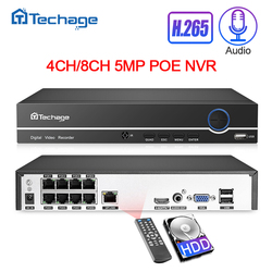 Techage H.265 4CH 8CH 4MP 5MP 1080P Poe Nvr Audio Out Security Surveillance Netwerk Video Recorder Tot 16CH voor Poe Ip Camera