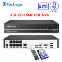 Techage H.265 4CH 8CH 4MP 5MP 1080P Poe Nvr Uscita Audio Sorveglianza di Sicurezza Registratore Video di Rete Fino a 16CH per La Macchina Fotografica Del Ip di Poe