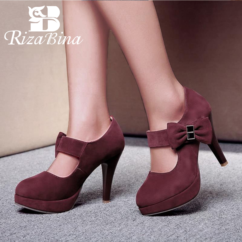 RizaBina Size 32-48 Ladies Ankle Buckle High Heels Shoes Women Glitters Solid Pumps Fashion Platform WomenS Party Footwear