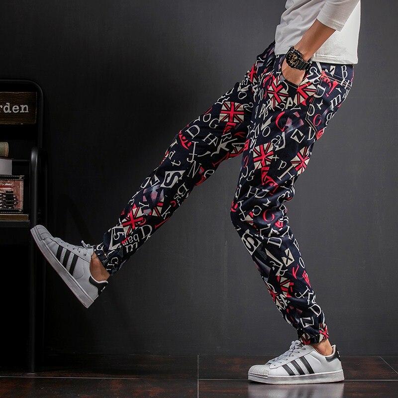 2017 Autumn New Pants Men Fashion Loose Casual Joggers Mens Letter Print Harem Pant Plus Size Mid Waist Floral Trousers Male 5XL