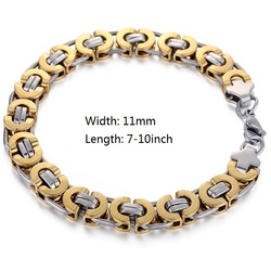 Davieslee Mens Bracelet Chain Gold Silver Black Stainless Steel Byzantine Link Wholesale Jewelry 6/8/11mm LKBM31